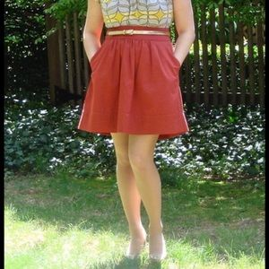 Anthropologie Odille rust pleated a line skirt